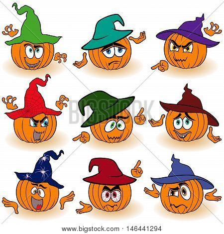 Set Of Gesticulating Orange Pumpkins In Hats