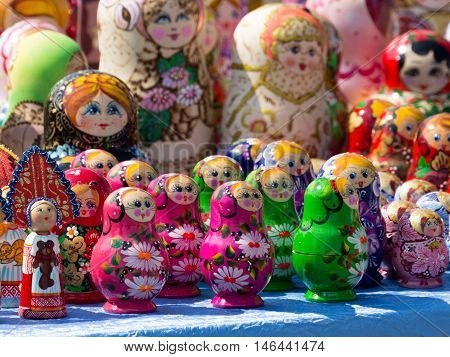 Moscow - August 11 2016: Lots of colorful dolls dolls - Russian souvenirs on display in a souvenir shop August 11 2016 Moscow Russia