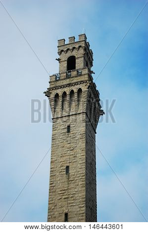 Pilgrim Monument is located at the center of Provincetown, Cape Cod, Massachusetts, USA.