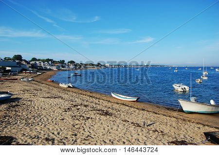 Sand Beach and boats in Cape Cod National Seashore, Provincetown, Massachusetts, USA