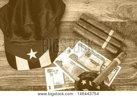 Retro photo, table with cuban items