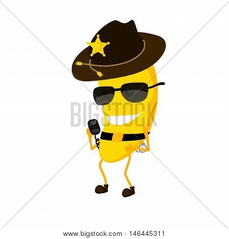 The banana sheriff cartoon characters with a hat. The policeman dressed in uniform and glasses. There is a star sign on the sheriff's hat.