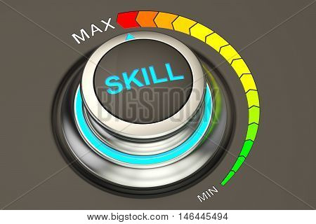 skill knob max level of skills. 3D rendering
