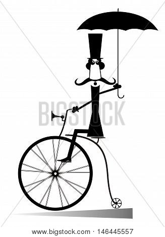 Cartoon man rides a bike. Gentleman with mustache, top hat and umbrella rides a retro bike and looks healthy and happy