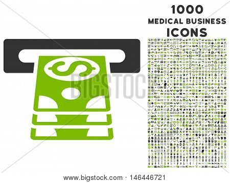 Bank Cashpoint vector bicolor icon with 1000 medical business icons. Set style is flat pictograms, eco green and gray colors, white background.