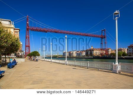 amazing bizkaia bridge in the city of getxo