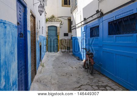The blue street inside the burg in the Kasbah des Oudaias or Kasbah of the Udayas in Rabat Morocco. The former barbary pirates town.