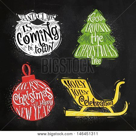Christmas vintage silhouettes Santa's beard Christmas tree Christmas ball Santa's sleigh with greeting lettering Sants Claus is coming to town rockin around Christmas tree merry Christmas and happy New Year Holly Jolly celebration drawing with color chalk