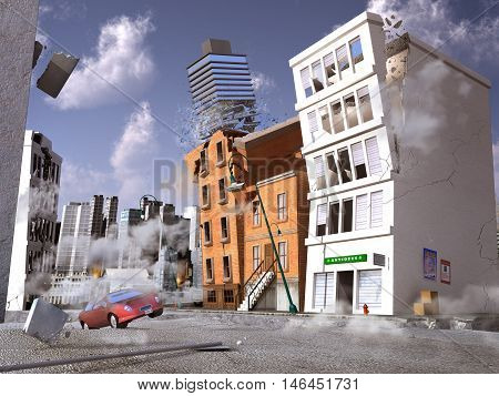 3d illustration of an earthquake in a city