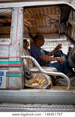 Driver At Filipino Jeepney, Close Up