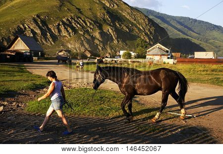 ALTAI REPUBLIC, RUSSIAN FEDERATION - 14 JULY, 2016 Tyungur village in Altai Republic, Russian Federation