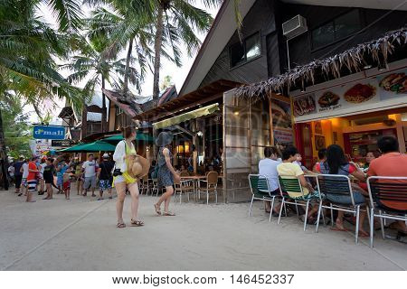 Local Shops And Bars On Boracay Long White Beach