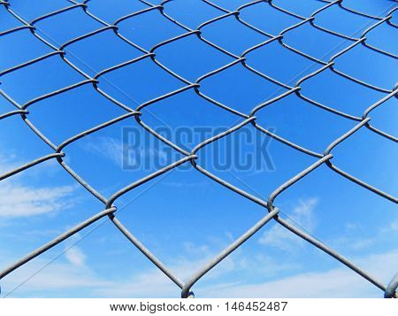 Chain link fence texture and blue sky, security and defence equipment