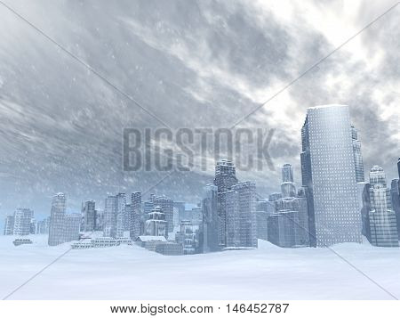 3d illustration of a frozen city surrounded by snow