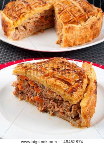Homemade meat pie from ground beef and vegetables. Vertical shot