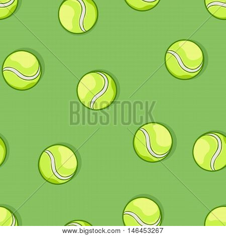 Vector Seamless Pattern Of Tennis Balls On Green Background