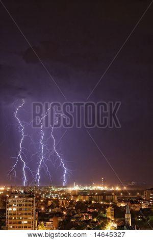 Thundershower and lightning over Pancevo Serbia