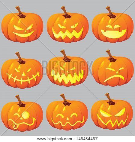 Vector illustration of halloween pumpkin Jack o Lantern set