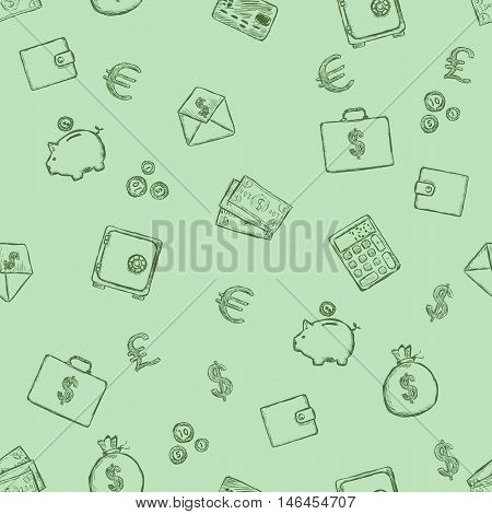 Vector Seamless Pattern Of Finance