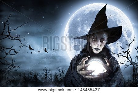 Halloween Witch Clairvoyant In A Spooky Night