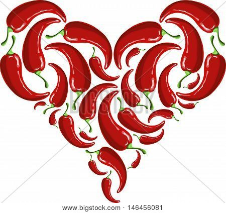 Hart shapes from painting red hot chili papers on white, vector illustration