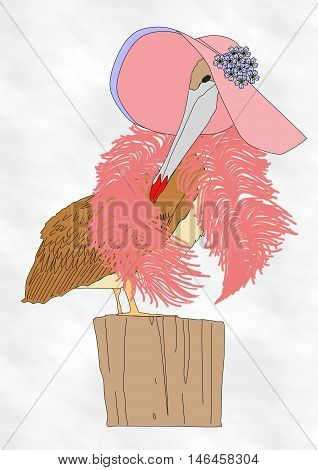 A drawing of a pelican dressed in a large pink hat adorned with blue flowers and a pink feather boa wearing lipstick and standing on a wooden post.