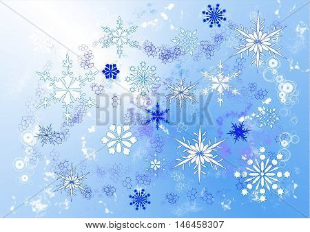 A drawing of swirling snowflakes in various sizes and designs on a blue background