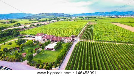 Aerial view of an old farmhouse in the vineyards in the Soave region Italy.