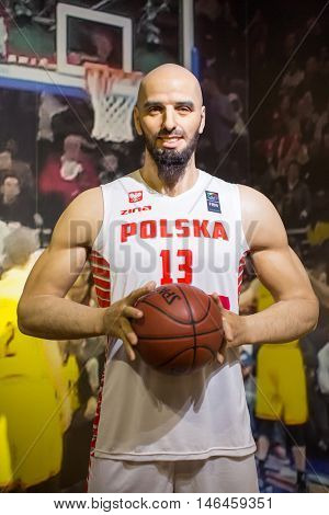 KRAKOW, POLAND - FEB 9, 2016:  Marcin Gortat (Polish professional basketball player) wax figure of Polonia Wax Museum at Main Market Square.