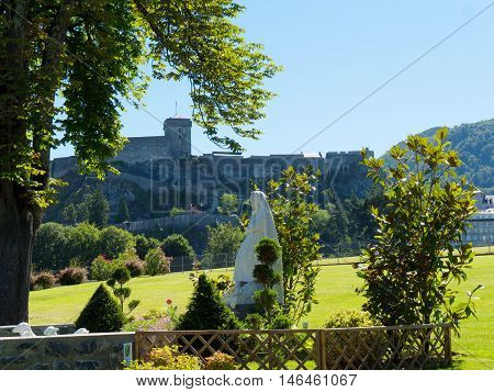 view of the castle of Lourdes in the french Pyrenees