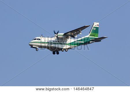 CHIANGMAI THAILAND - FEBRUARY 26 2014: 2221 CASA CN-235 of KASET Bureau of Royal Rainmaking and Agricultural Aviation. Landing to Chiangmai Airport.