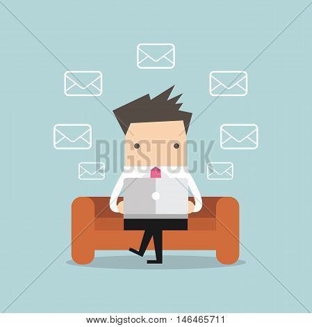 Businessman Check Email Messages on sofa vector