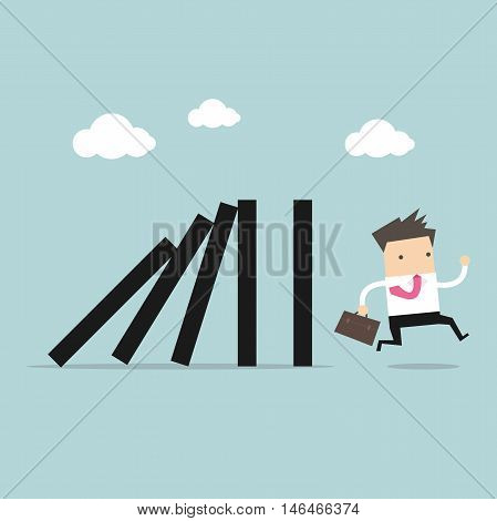 Businessman run away domino effect vector illustration