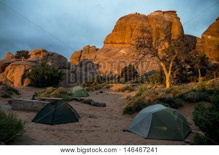 Moab Utah Arches National Camping at Devils camp 2