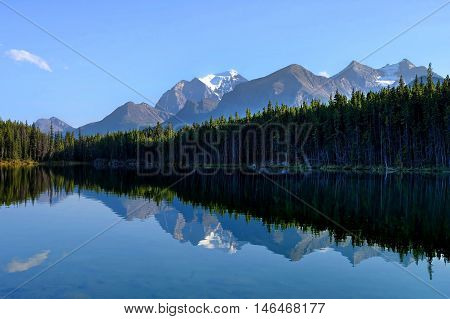 Mount Temple reflection in Herbert lake. Banff National Park. Alberta. Canada.