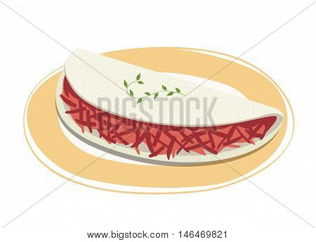 Tapioca filled with dried meat on a plate