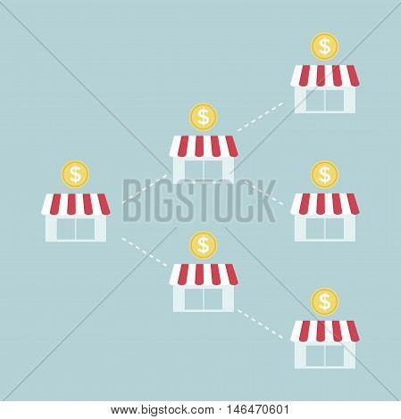 Franchise business chart with coin vector illustration