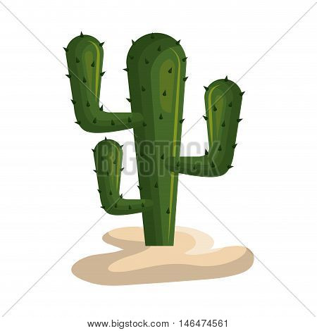 green cactus desert plant. west symbol. vector illustration