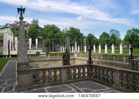 Fountain St. Stanislaus on Skalka in the Christian part of Kazimierz. Krakow. Poland.