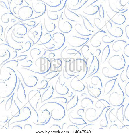blue abstract floral pattern on a white background, in the style of frost patterns on winter window. Hand drawn vector stock illustration