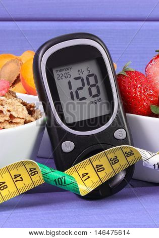 Glucometer With Sugar Level, Healthy Food And Centimeter, Diabetes And Healthy Lifestyle