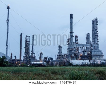The Petrochemical plant Refinery in industrial area.