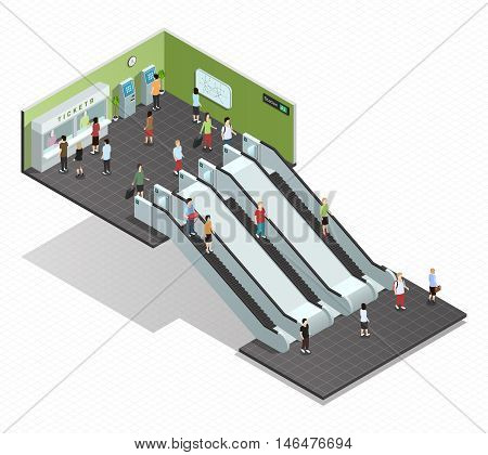 Color isometric composition depicting subway entrance underground stairs escalator vector illustration