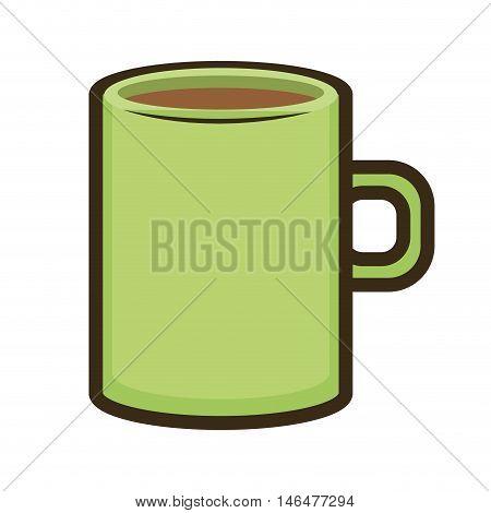 green mug coffee beverage. caffeine drink. vector illustration