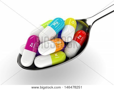 3D Rendering Of Dietary Supplements On Spoon Isolated Over White