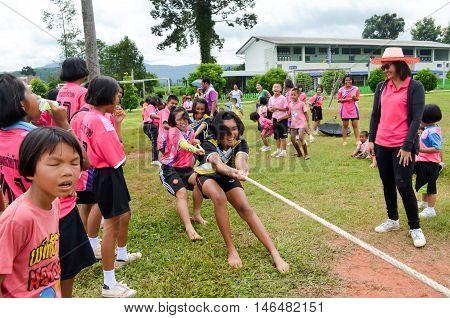 PHITSANULOK THAILAND - SEP 1: Compete in tug of war shown at rural school on Sep 1 2016 in Phitsanulok