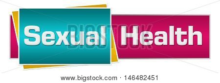 Sexual Health text written over pink turquoise background.