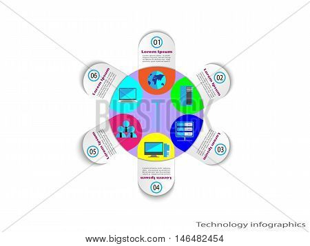 Technology Infographics with reusable icon collection, vector illustration