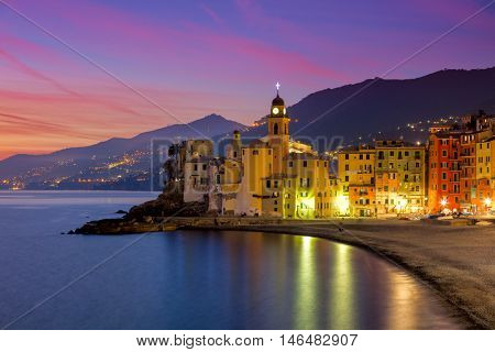 Beautiful Small Mediterranean Town at the evening time with illumination - Camogli, Italy, European travel