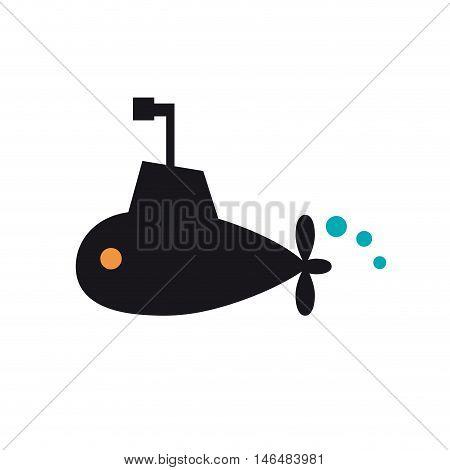Vector sign cheerful black submarine on white